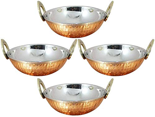 Set of 4, Indian Copper Serveware Karahi Vegetable Dinner Bowl with Handle for Indian Food, Diameter 6 Inches Approx