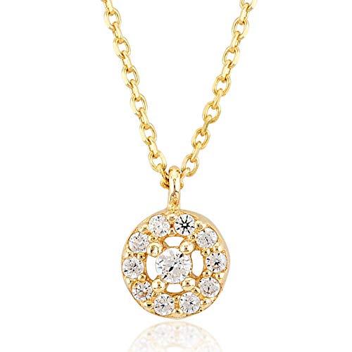 Damen Gold Halskette aus 14 Karat - 585 Echt Gelbgold mit Zirkonia Stein Solitär Anhänger, Runder - Geschenk für Valentinstag Geburtstag Weihnachten - Kette 45 cm