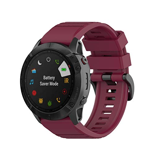Yikamosi Watch Band Compatible with Garmin Fenix 6X Quick Fit 26mm,Soft Silicone Stainless Steel Clasp Replacement Bracelet Strap Fit Garmin Fenix 6X Smart Watch(Wine Red)