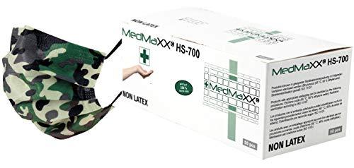 MedMaXX HS-700E 3-lagige professionelle Gesichtsmaske (Mundschutz) 50 Stück - OP Maske Typ II EN 14683, hohe Filtration und geringer Atemwiderstand, mit anpassbarem Nasenbügel (Camouflage)