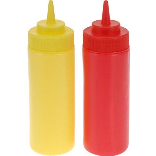 Markenlos Bottiglie da spremere, 400 ml, 2 Pezzi, Dispenser per Ketchup, Senape, Rosso e Giallo
