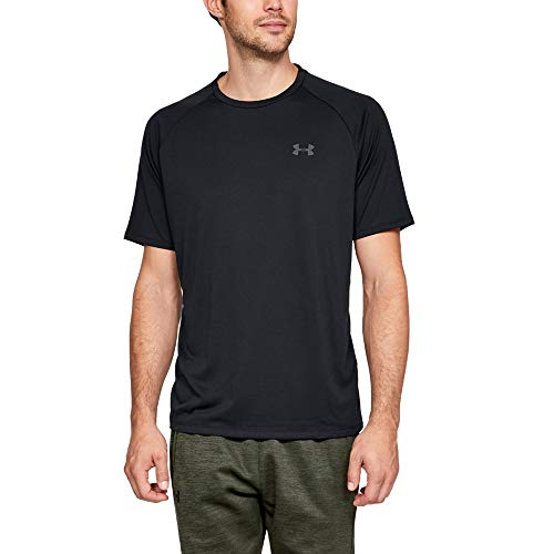 Under Armour UA Tech 2.0 Short Sleeve Tee, Light and Breathable Sports T-Shirt, Gym Clothes With Anti-Odour Technology Men, Black (Black/Graphite (001)), X-Large