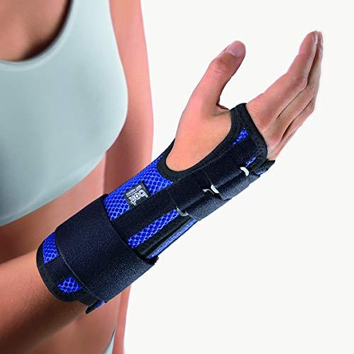 bort 102200 medium rechts ManuStabil Handgelenkorthese mit Verstärkungsschienen, rechts medium, blau
