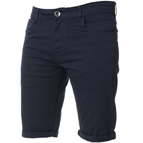 Kruze Mens Chino Shorts Designer Jeans Casual Blue Black Red Tan, BNWT 34 Navy