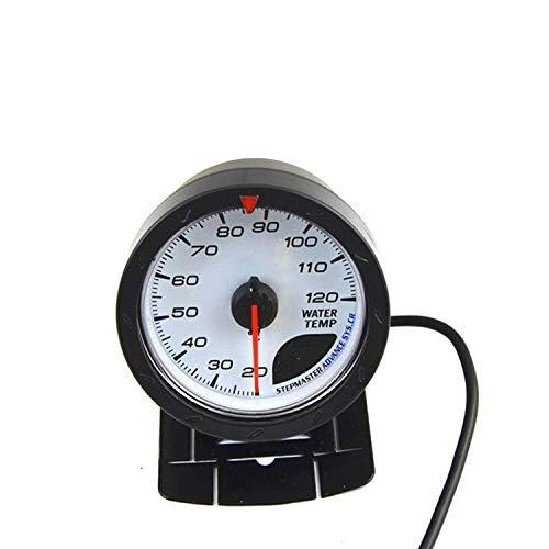 Yongenee Panel de instrumentos Medidor de temperatura del agua de 60 mm 20-120 centígrados puntero Agua Medidor de temperatura del coche medidor de luz de fondo rojo y negro for los motores, barcos, a