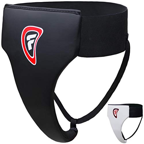 Farabi Female Thai Rampart Multipurpose Groin Guard Boxing MMA Muay Thai Kickboxing Martial Arts Taekwondo kung fu jiu Jitsu BJJ Defense Fight Combat L Guard Groin Protector (Black, S/M)
