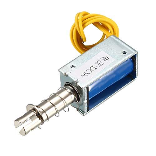 Sourcingmap - Electroimán solenoide de CC 9 V, 50 g, 10 mm, de tipo empujar - tirar, bastidor abierto y movimiento lineal