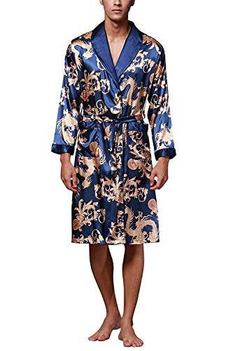 ZAPZEAL HAINE Nachtwäsche Kimono-Robe für Herren Bademantel Schlafanzug, L(Länge 112 cm / 44,1 inch), Blau