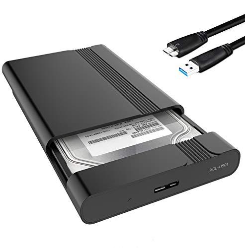 GeekerChip USB 3.0 Boîtier Externe Disque,Boîtier Disque Dur,pour Disque per 2.5''HDD/SSD SATA I/II/III et Disque Dur de 7mm~9.5mm,Jusqu'à 5 Gbps Maximum,Outil Gratuit UASP Support(Noir)
