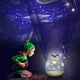 Sternenhimmel Projektor Lampe Kinder LED Nachtlicht Baby Sterne Lampe mit 6 Projektion Films 5 Licht Modus 360° Drehbar für Geburtstags, Halloween, Weihnachten Geschenk, Kinder Schlafzimmer Dekoration