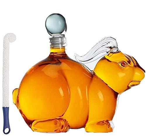 HJYSQX Decantatore di Vino liquore da 1000 ml Decanter di Whisky a Forma di Animale, Caraffa a Forma di Coniglio con Tappo Vetro borosilicato soffiato a Mano (Colore: A)