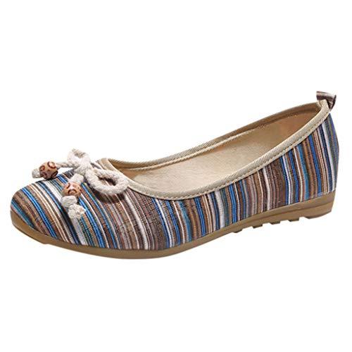 YWLINK Zapatos De Mujer Low-Top con Estilo Nacional Zapatos Individuales CuñAs Ligeras Zapatos Perezosos Bohemia Zapatos Romanos Zapatos Casuales De Playa Fiesta(Azul,42EU)