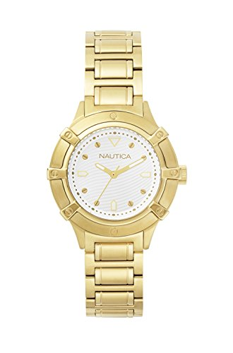 Nautica Damen Datum klassisch Quarz Uhr mit Edelstahl Armband NAPCPR004