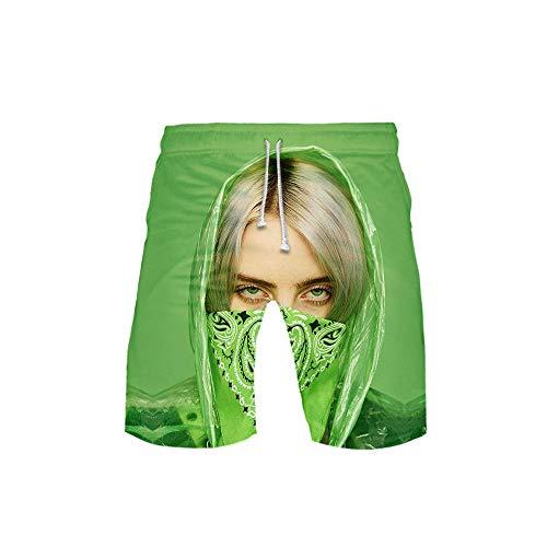 NOBRAND La Popular Cantante Estadounidense Billie Eilish, Tendencia de Personalidad, Pantalones Cortos de Playa, Pantalones Calientes de Moda, Pantalones Cortos de Cinco Puntos sexys