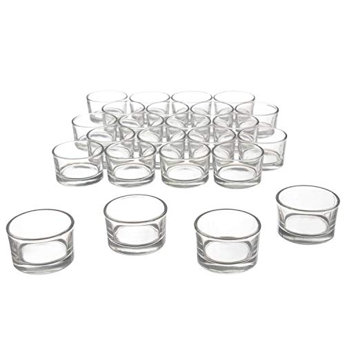 Clear Glass Tealight Candle Holders for Wedding, Birthday, Holiday & Home Decoration, 24 PK