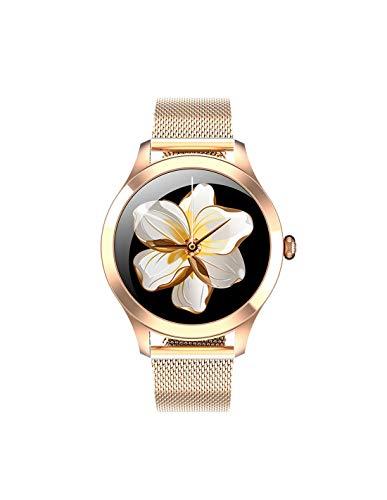 Roneberg RKW10 PRO Smartwatch para mujer con monitor de frecuencia cardíaca y podómetro, elegancia y clásicos, impermeable IP68 (dorado)