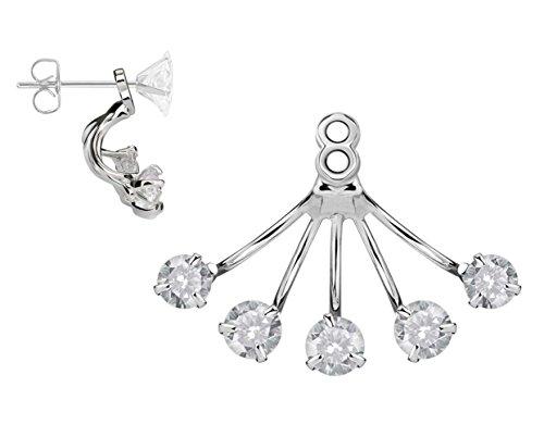 BlingKing - 1 Ohrstecker Ear Jacket Prong - Silber Ear Cuff/Schaukel-Ohrring/Pendel-Ohrring - Stecker + Anhänger