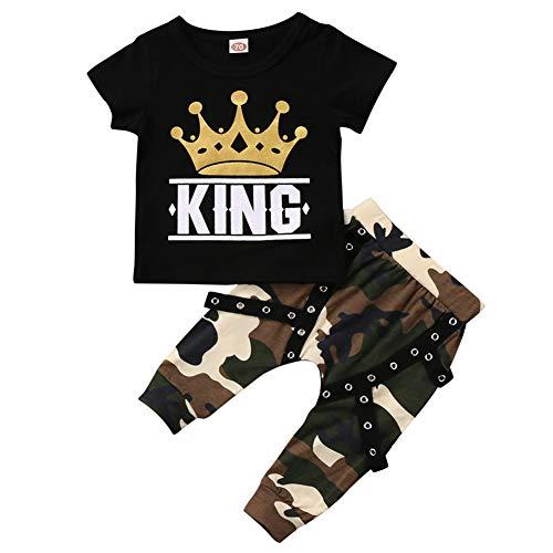 Geagodelia Babykleidung Set Baby Jungen Kleidung Outfit T-Shirt Top + Hose/Shorts Neugeborene Kleinkinder Weiche Babyset (6-12 Monate, King (Schwarz 107))