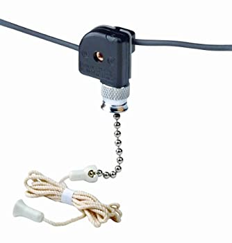 Leviton 10097-8 Pull Chain Switch Single Pole On-Off  1A-125V T 3A-125V 1A-250V  With Two 6 Inch Black Leads 18 Awg Awm Tew 105C 600V Stripped 1/2 Inch
