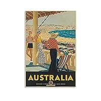 ヴィンテージトラベルポスターオーストラリアボンダイビーチキャンバスアートポスター印刷寝室装飾絵画子供部屋装飾絵画16×24インチ(40×60cm)