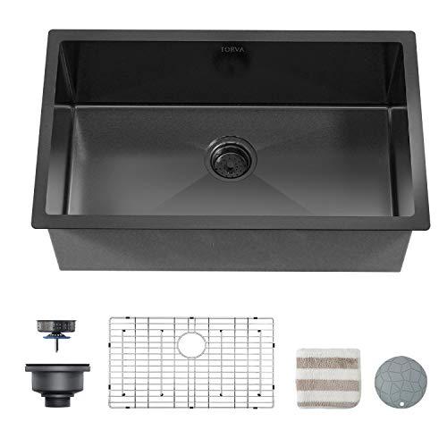 TORVA 30 x 18 Inch Black Ceramic Coating with NanoTek Undermount Kitchen Sink, 16 Gauge Stainless Steel Wet Bar or Prep Sinks Single Bowl