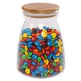 77L Tarro de almacenamiento de alimentos para chocolate de, con tapa de bambú sellada, recipiente de almacenamiento de cristal transparente para servir, café, caramelos y más, 960ML (32.4 FL OZ)