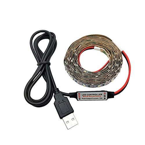 H/A Controlador LED de 12 Teclas USB Línea de alimentación LED Tira de luz SMD 2835 Cinta Decorativa de Escritorio de Navidad for TV Iluminación de Fondo AZHAA (Color : White, Size : 12 KETYS Set)