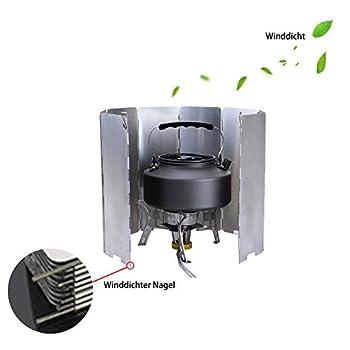 Xiangze Pare-vent pliable en aluminium avec 9 plaques d'aluminium pour poêles/réchaud à gaz Blanc