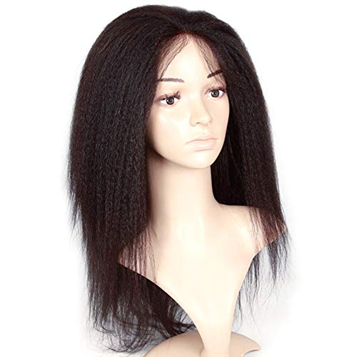 HYISHION Perruques Longues Cheveux Droite Hair Long Kinky Straight Lace Front Wigs Pre Plucked 13 * 5 with Curly Bob Wigs for Black Women Glueless Natural Black Hair 150% Density 22inch