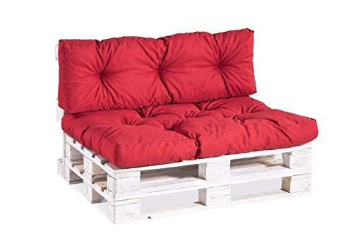 Palettenkissen Palettenauflagen Sitzkissen Rückenlehne Gesteppt PPI (Sitzkissen 120x60 Gesteppt, Rot)