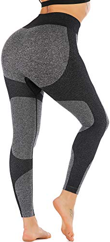 RUNNING GIRL Women Butt Lift Seamless Yoga Leggings High Waisted Tummy Control Workout Leggings Compression Skinny Tights (2334 Black,M)