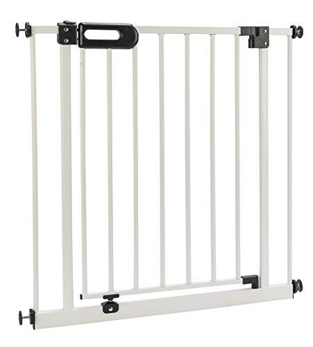 BOMI Treppen Gitter 63-251 | Ohne Bohren | 90° Stop | Schließt automatisch | Absperrgitter weiß für Treppen, Türrahmen | Hochwertiges Treppenschutzgitter mit Tür