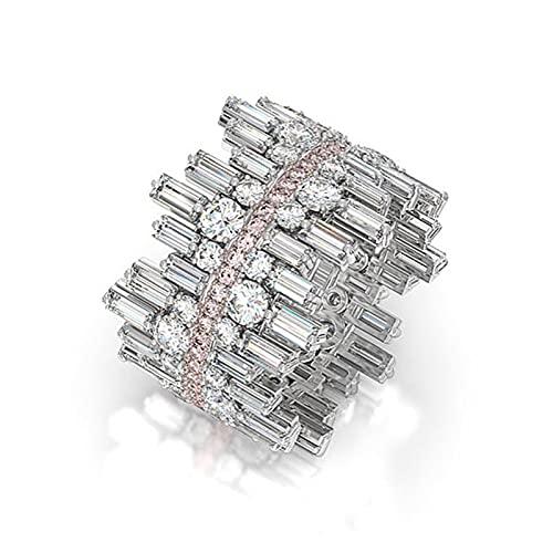 ZJXPYXN Anillo de Forma Irregular Anillo de Forma Señoras Edificio Redondo Anillo de Compromiso Joyería (Main Stone Color : F216, Metal Color : Silver Plated)