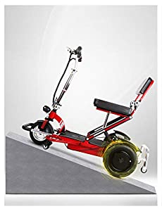 YF-Mirror Auto Folding Portable 3-Wheel Mobility Scooter with LED Lighting - Powered Mobility Scooter for Adults and Seniors, Suitable for Uneven and Rough Terrains - Red