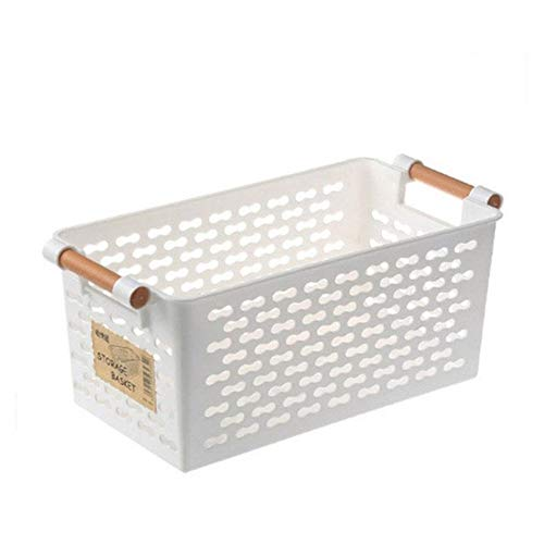 DNAMAZ Basket Plastic Home Storage Basket Rectangular Bathroom Portable Food Fruite Storage Box Bath Laundry Basket Kitchen Sundries Container storage (Color : White)