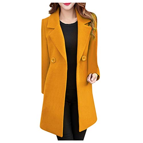 Xmiral Giacca Outwear Donna Invernale con Risvolto in Lana Trench Giacca a Maniche Lunghe Cappotto Outwear (L,Giallo)