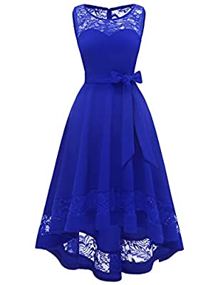Womens Lace Bridesmaid Dresses Sheer Scoop Neck Hi-Lo Swing Cocktail Party Dress Royal Blue M