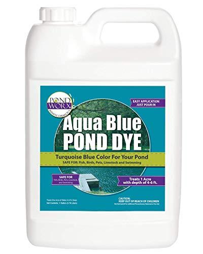 PondWorx Lake and Pond Dye- Aqua Blue Pond Dye - 1 Gallon