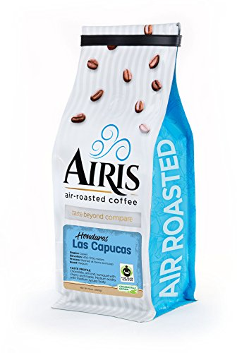 Fair Trade Honduras Coffee (Las Capucas Coop), Whole Bean, Organically grown, AIR ROASTED COFFEE by Airis Coffee Roasters (12oz)