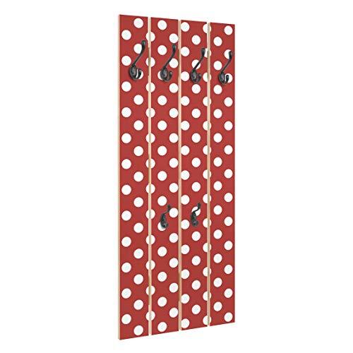 Bilderwelten Wandgarderobe Holz Punkte Girly rot Garderobenpaneel + Haken schwarz, 100x40 cm