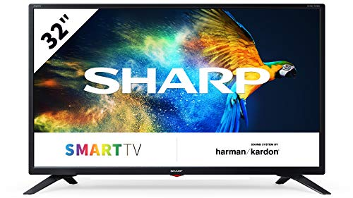 Sharp Aquos LC-32BC3E - 32' Smart TV HD Ready LED TV, Wi-Fi, DVB-T2/S2, 1366 x 768 Pixels, Nero, suono Harman Kardon, 3xHDMI 2xUSB, 2019
