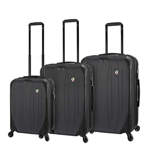Best Deals! Mia Toro Italy Compaz Hard Side 3 Piece Spinner Luggage, Black, One Size