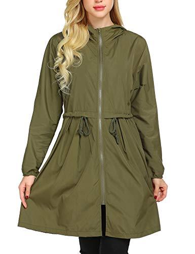 ANGVNS Women's Lightweight Waterproof Outdoor Jacket Loose Long Raincoat Hood Army Green