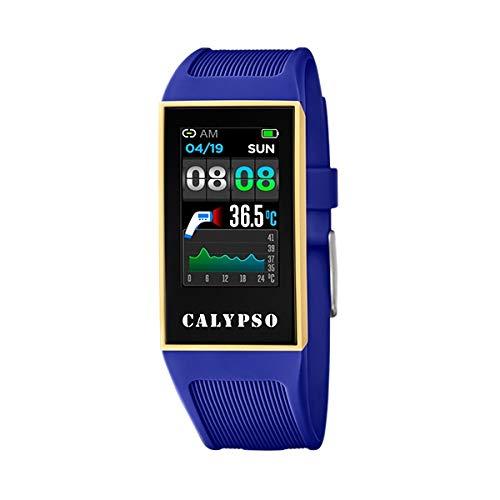 CALYPSO Reloj Modelo K8502/2 de la colección SMARTWATCH, Caja de 23,80/41,30 mm con Correa de Caucho Azul Oscuro para señora