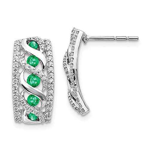 14k White Gold Diamond Green Emerald Post Stud Earrings Gemstone Fancy Em Drop Dangle Fine Jewellery For Women Gifts For Her