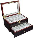 BRFDC Caja de Relojes de Cuero Caja de Reloj Reloj 20 Caja de Almacenamiento de Madera Caja de exhibición del Reloj con la Cerradura Caja de Reloj de sándalo Rojo de Pintura Caja de Reloj ID