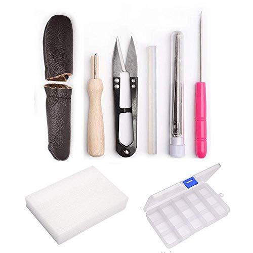 YXQSED Kit de Principiante Agujas de Fieltrar Kit de Artesanía de Fieltro Agujas Tijeras Pegamento Punzón para Manualidades Artesanía