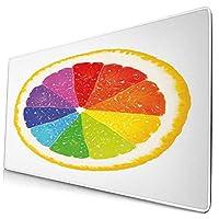 KIMDFACE 大型 マウスパッド ナチュラルフレーバーグレープフルーツオレンジの中に虹色の柑橘系の果物の半分 個性的 おしゃれ 柔軟 かわいい ゲーミングマウスパッド PC ノートパソコン オフィス用 デスクマット 滑り止め 特大 マウスマット