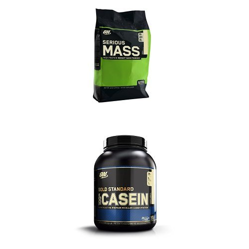 Optimum Nutrition Serious Mass Vanilla 5.44kg with Casein Vanilla 1.82kg