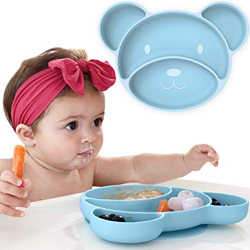 Baby Suction Plate - Non Slip Silicone Baby Weaning Plate - Stay Put Toddler Feeding Plate with Suction - Kids Placemat for No More Meal Time Mess… (Blue)